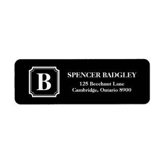 Black & White Classic Monogram Address Labels