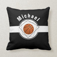 Black & White Classic Personalized Basketball Fan Throw Pillow