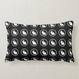 Black White Classic Simple Bunny Easter Rabbit Lumbar Pillow
