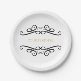 Black & White Classic Vintage Wedding Engagement Paper Plate