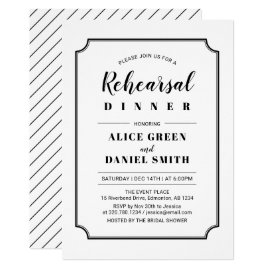 Black & White | Classic Wedding Rehearsal Dinner Card