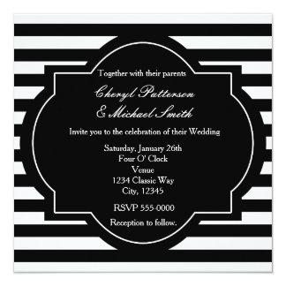Black & White Classy Striped Party Invitation