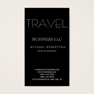 Black White Clean Travel Agent Business Cards
