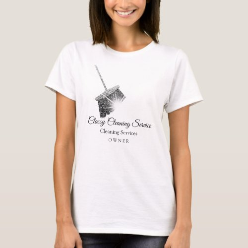 Black White Cleaning Service Maid Hause Keeping T_Shirt