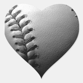 Black & White Close-up Baseball Heart Sticker