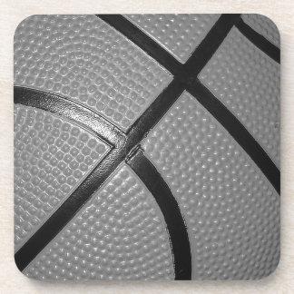 Black & White Close-Up Basketball Beverage Coaster