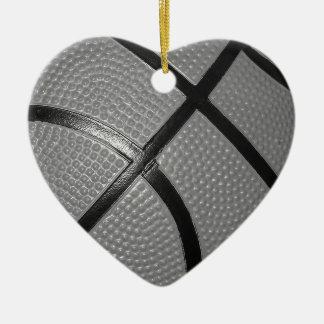 Black & White Close-Up Basketball Ceramic Ornament
