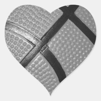 Black & White Close-Up Basketball Heart Sticker