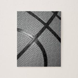 Black & White Close-Up Basketball Jigsaw Puzzle