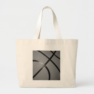 Black & White Close-Up Basketball Large Tote Bag