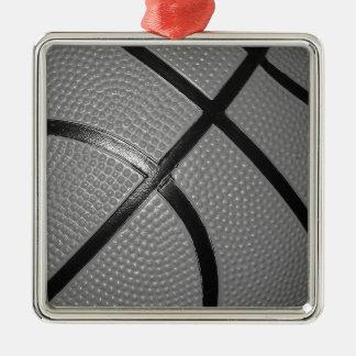 Black & White Close-Up Basketball Metal Ornament