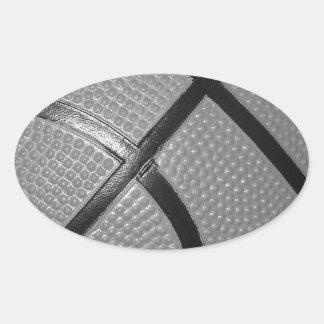 Black & White Close-Up Basketball Oval Sticker