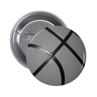 Black & White Close-Up Basketball Pinback Button