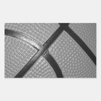 Black & White Close-Up Basketball Rectangular Sticker