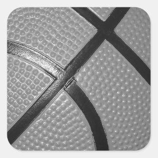 Black & White Close-Up Basketball Square Sticker