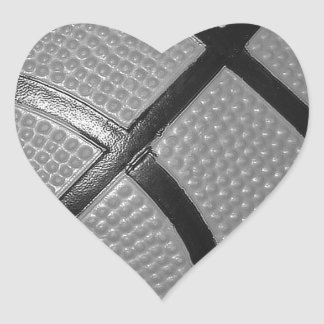 Black & White Close-Up Basketball Heart Sticker
