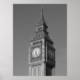 Black White Close up Big Ben Clock Tower London Poster