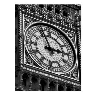Black White Close up Big Ben Clock Tower Postcard