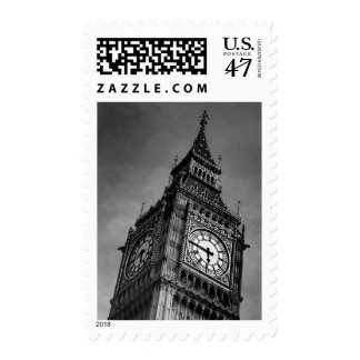 Black & White Close up Big Ben London Travel Postage