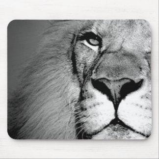 Black White Close-up Lion Eye Mouse Pad
