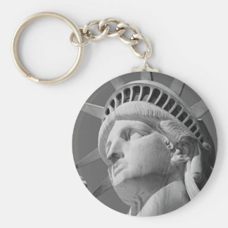 Black & White Close-up Statue of Liberty Basic Round Button Keychain