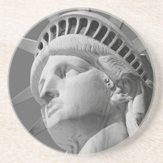 Black & White Close-up Statue of Liberty Drink Coaster
