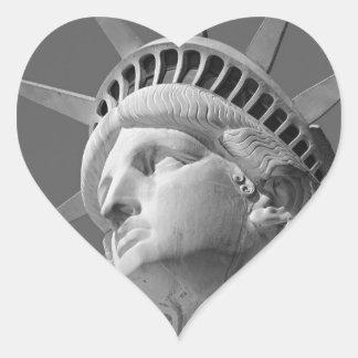 Black & White Close-up Statue of Liberty Heart Sticker