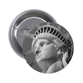 Black & White Close-up Statue of Liberty Pinback Button