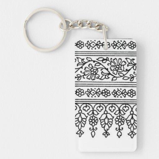 Black + White Cloth like Pattern - Key Chain
