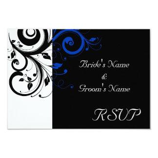Black/White/Cobalt Blue Bold Swirl Wedding 3.5x5 Paper Invitation Card