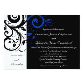 Black/White/Cobalt Blue Bold Swirl Wedding 5x7 Paper Invitation Card