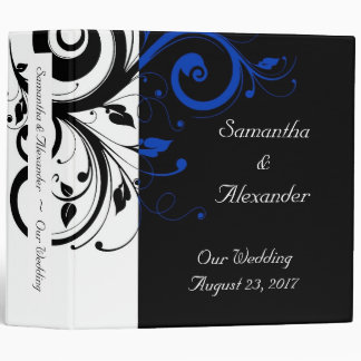 Black/White/Cobalt Blue Bold Swirl Wedding Binders