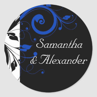 Black/White/Cobalt Blue Bold Swirl Wedding Classic Round Sticker