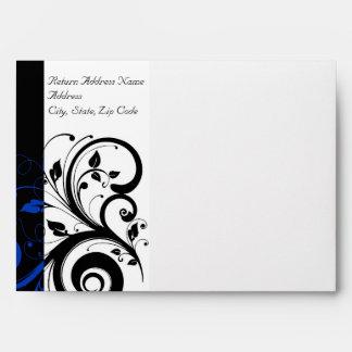 Black/White/Cobalt Blue Bold Swirl Wedding Envelope