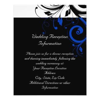 Black/White/Cobalt Blue Bold Swirl Wedding Full Color Flyer