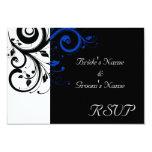 Black/White/Cobalt Blue Bold Swirl Wedding Custom Invitations