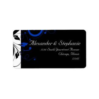 Black/White/Cobalt Blue Bold Swirl Wedding Custom Address Label