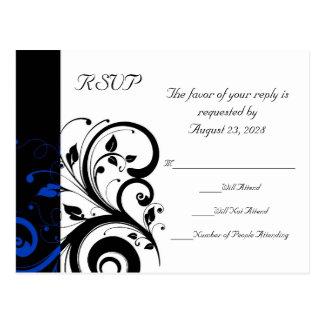 Black/White/Cobalt Blue Bold Swirl Wedding Postcard