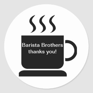 Black White Coffee Lover Personalized Gift Classic Round Sticker