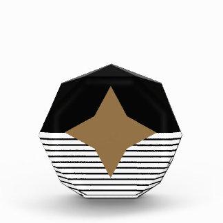 Black White Colorblock & Brown Diamond Acrylic Award