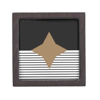Black White Colorblock & Brown Diamond Keepsake Box