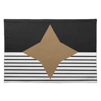 Black White Colorblock & Brown Diamond Cloth Place Mat