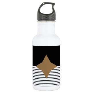 Black White Colorblock & Brown Diamond Stainless Steel Water Bottle