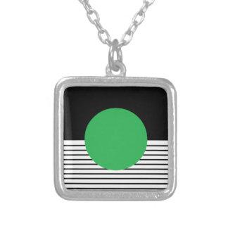 Black White Colorblock & Green Circle Square Pendant Necklace