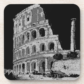 Black & White Colosseum Drink Coaster