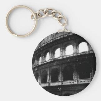 Black White Colosseum Roman Empire Basic Round Button Keychain