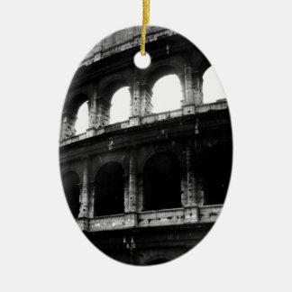 Black White Colosseum Roman Empire Ceramic Ornament