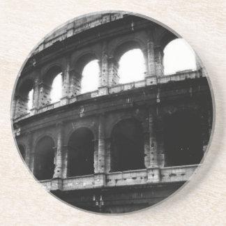 Black White Colosseum Roman Empire Drink Coaster