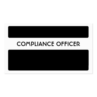Black white compliance officer business cards