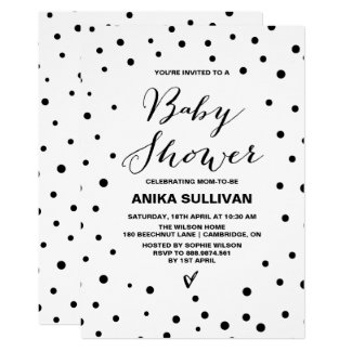 Black & White Confetti Dots Baby Shower Invitation